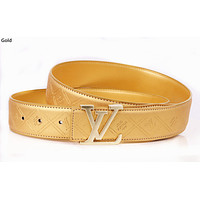 LV 2019 new retro simple men and women letter buckle belt gold