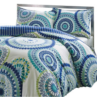 King Size Blue Yellow Perfect Circles 3 Piece Comforter Set