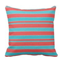 Coral and Teal Striped Pillow