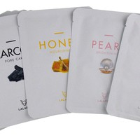 LALAFOX Premium Face Mask Variety Pack - 8 Pack Bundle – Milk, Honey, Pearl & Charcoal - Daily Skin Facial Beauty Products