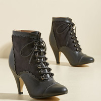 Distinguish Granted Bootie in Charcoal   Mod Retro Vintage Boots   ModCloth.com
