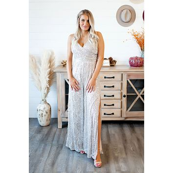 Iced Out Sequined Jumpsuit (Silver)