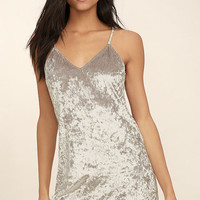 Wind it Up Grey Velvet Slip Dress