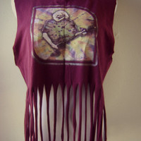 distressed jerry garcia fringe t shirt | vintage worn in tee | cut off tee | s/m/l | hippie boho t-shirt | festival clothing | greatful dead