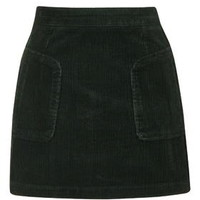 Patch Pocket Cord A-Line Skirt - Forest