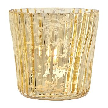 Vintage Mercury Glass Candle Holders (3-Inch, Caroline Design, Vertical Motif, Gold) - For Use with Tea Lights - For Parties, Weddings, and Homes