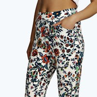 Hannah Floral Stretch Crepe Trousers