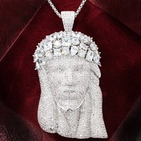 Sterling Silver Solitaire Big Jesus Head Pendant Tennis Chain