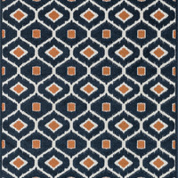 "Loloi Rugs - Oasis - 5'-2"" X 7'-5"" - Navy / Orange"