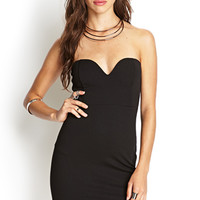 FOREVER 21 Strapless Textured Geo Dress Black Large