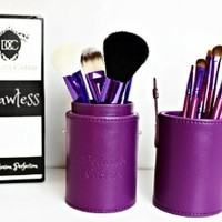 Purple Makeup Brushes Set - Best Grade Natural Fiber - 12 Pce - Flawless - Fashionable Brush Cup Holder Perfect for Travel. An Essential Collection of Best Synthetic and Natural Fiber Brushes - Foundation, Concealer, Powder, Fan, Eyeshadow and Lip Brushes