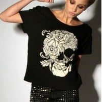 Skull Rose cotton short-sleeved personalized T-shirt