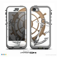 The Nautical Captain's Wheel with anchors Skin for the iPhone 5c nüüd LifeProof Case