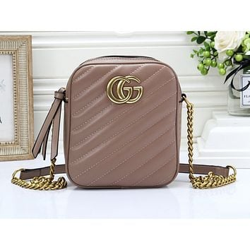 GUCCI hot selling lady casual shoulder bag fashionable pure color zigzag line shopping bag #3