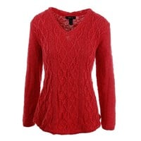 Style & Co. Womens Cable Knit V-Neck Pullover Sweater