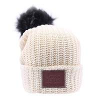 Natural Pom Beanie (Black Pom) - Love Your Melon
