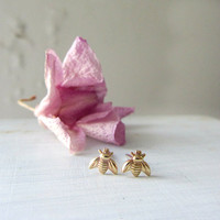Tiny gold bumble bee stud earrings, sterling silver post