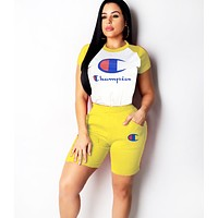 Champion Women Summer Fashion New Letter Print Contrast Color Leisure Sports Two Piece Suit Top And Short Yellow