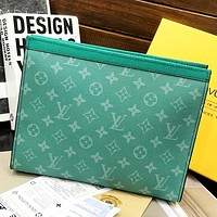 LV Louis Vuitton New fashion monogram leather couple cosmetic Bag handbag file package Green
