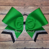 """3"""" Kelly Emerald Green Team Cheer Bow with Silver Glitter and Black Glitter Tail Stripes"""