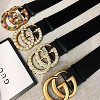 GUCCI Fashion Woman Men More Style Diamond Pearl Smooth Buckle Belt Leather Belt-1