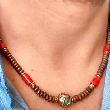 Mens Necklace Coral and Hematite Gems Unisex Necklace - Mens Beaded Necklace - Tribal Necklace - surfer necklace - Boho Jewelry