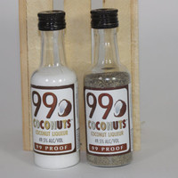 99 Coconuts Salt and Pepper Shaker, Upcycled Liquor Bottles