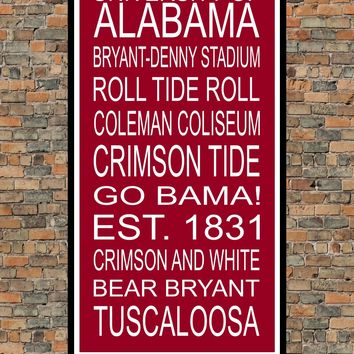 Alabama Crimson Tide Subway Wall Art Print
