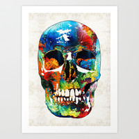 Colorful Skull Art - Aye Candy - By Sharon Cummings Art Print by Sharon Cummings