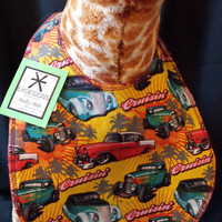 Classic Hot Rod Print Baby Bib - Toddler size *Wider Size*