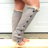 Leg warmers with lace and button accents - light grey - women legwarmers - boot accessory - winter fashion