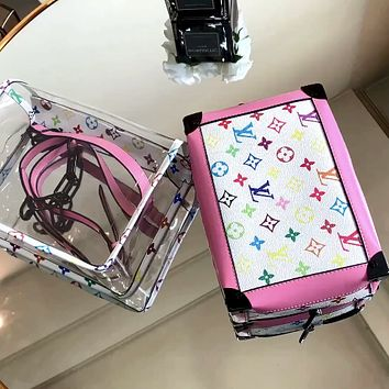 LV new product vintage old flower transparent chain camera bag box bag shoulder messenger bag
