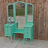 Aqua Blue Vanity, Dresser, Beach Cottage, Shabby Chic, Rustic, Painted Vintage, Cottage Chic, Distressed furniture