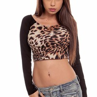 LEOPARD PRINT SCOOP NECK LONG SLEEVE CASUAL CROP TOP