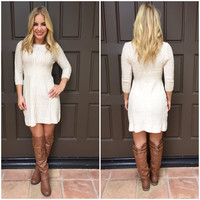 Cable Knit Dress - IVORY