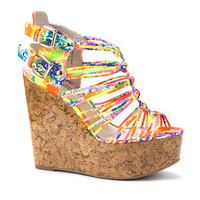 Neon Abstract Gladiator Sandal Wedges