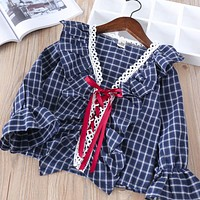 Baby ruffles V-neck blouse Children plaid Shirt Clothes Kids cotton Long Sleeve drawstring Casual Shirt Clothing