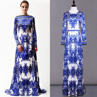 S-XXXL Blue And White Porcelain Printing Party Dress 2015 Spring Cultivate One's Morality Clothing New European Runway Dresses