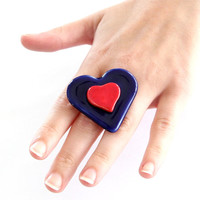Red Heart Ring Ceramic - big bold handmade Mothers Day cocktail ring - BURSTING with LOVE - 1.7inch
