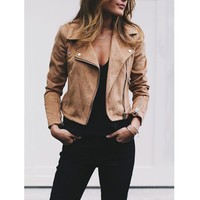 Women's Bomber Jacket with Zippers and Rivets