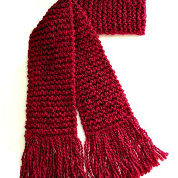 Red Scarf Long Chunky Hand Knit Winter Scarf Men Women Candy Apple Deep Dark Red