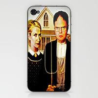 Dwight Schrute & Angela Martin (The Office: American Gothic) iPhone & iPod Skin by Silvio Ledbetter