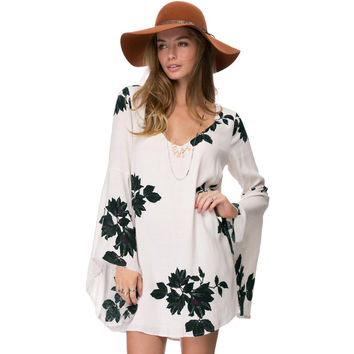 White Floral Print Long Wide Sleeve Dress with Cut Out Back
