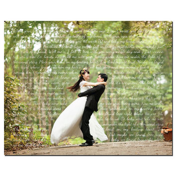 Wedding Photo with Song Lyrics - Print - Wedding Song - First Dance - Wedding Vows - Wedding Gift - Anniversary Gift - Valentines Day