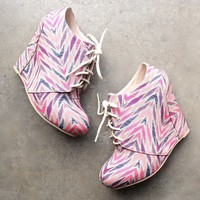 final sale - bows and arrows lace-up ankle wedge booties