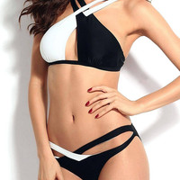 Cross Wrap Contrast Triangle Bikini Set