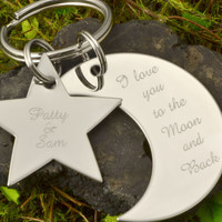 Easter Sale Star and Moon Keychain - Engravable Gift - To the Moon and Back - Personalized Keyring -Engraved Keychain