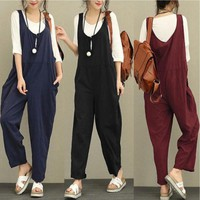 Plus Size Womens Jumpsuit Overalls 2018 Korean Fashion Sleeveless Long Playsuit Rompers Ladies Casual Loose Oversized Trousers