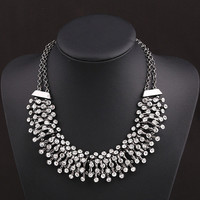 2 colors Bling Crystal Statement Necklace Chunky Statement Necklace Bib Collar Necklace Prom Necklace Jewelry For Women