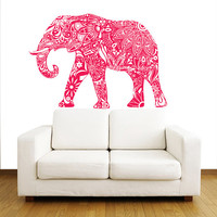 Indian Elephant Wall Decals - Floral Pattern Wall Vinyl Decal - Interior Home Decor - Wall Decal - Housewares Art Vinyl Sticker Decal V1072